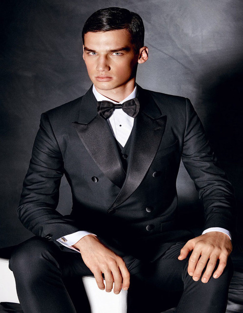 2018 Black Spring New Style Double Breasted Peak Lapel Groom Tuxedos Men Suits 3 Psc Wedding Dress(Jacket+Pants+Vest+Tie)