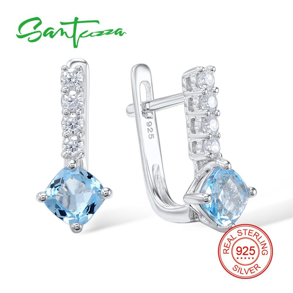 SANTUZZA Silver Earrings For Women 925 Sterling Silver Stud Earrings Silver 925 with Stones Cubic Zirconia brincos Jewelry