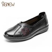 94d138750 Xinnuo couro Genuíno sapatos femininos confortáveis não-deslizamento sapatos  2019 sapatos novos para os idosos avó primavera úni.