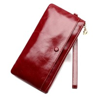 Luxury Brand Designed Genuine Leather Women Wallet Female Long Clutch Purse Fashion Cow Leather Phone Wallet