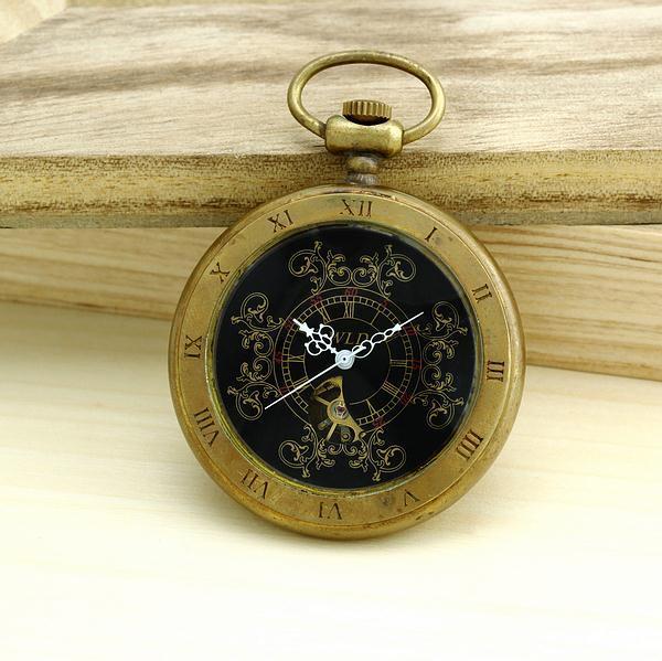 Мужская высокое качество бронза старинные ретро меди часы мужчины сплава механические карманные часы с металлической цепью стимпанк часы