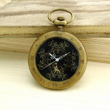 Unisex Good quality Bronze Vintage Retro Copper Watch Men Alloy Mechanical Pocket Watch With Metal Chain Steampunk Watch Roman