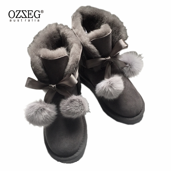 2018 High Quality Women Snow boots 100% Genuine Sheepskin Leather Lace up High boots Natural Fur Warm Wool Winter Women Boots new women high quality flat boots winter women s snow boots beige black brown warm classical flock add wool boots n03