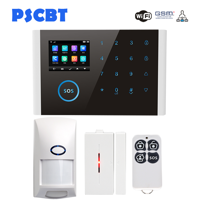PSCBT Alarm System Home Burglar WIFI GSM Alarm System APP Remote Control English French Russian Spanish Portuguese German Arabic