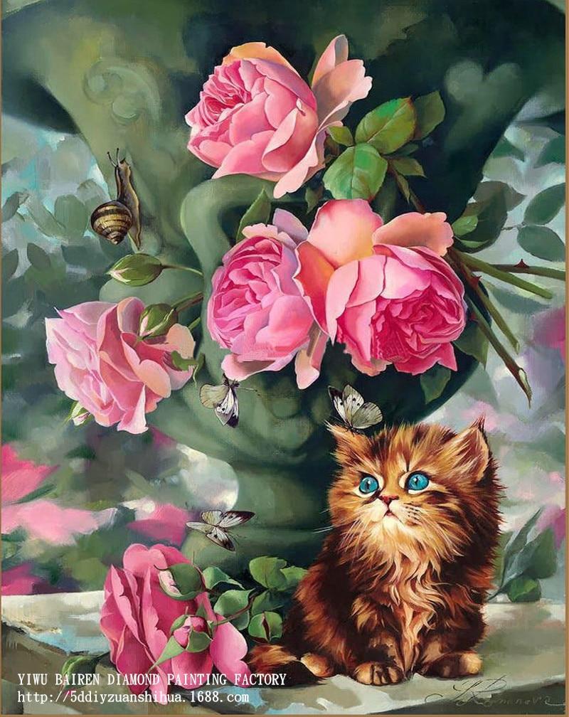 Gato y flor Rosa patrón diamante Bordado DIY costura 5d Cuadros de ...