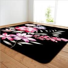 Прямоугольный ковер с принтом розы подходит для дома гостиной