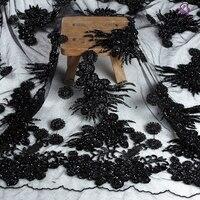La Belleza stock white/black super heavy beaded beaded magic sequins wedding/evening dress lace fabric 47'' width by yard