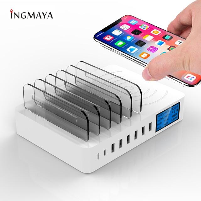 INGMAYA تشى اللاسلكية شاحن LED تظهر USB نوع C متعددة ميناء الشحن ل فون XR Xs X سامسونج S9 هواوي p30 الموالية Mi 9 محول