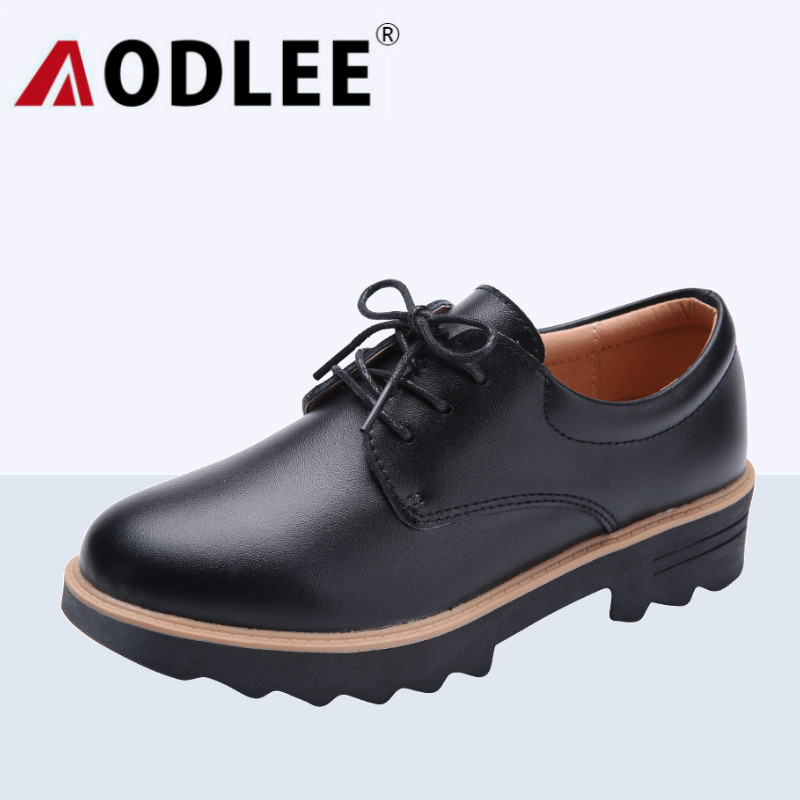 AODLEE Creepers Women Shoes Flat Platform Shoes Black Women Casual Shoes Lace-Up Round Toe Creepers Oxford Shoes For Women Flats rihanna pu leather creepers flat platform shoes woman 2016 casual loafers black pink flats lace up women shoes
