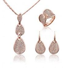 Благородные элегантные ювелирные изделия с кристаллами золотого цвета, ожерелье, серьги, кольцо, набор, Сделано с австрийскими кристаллами для женщин