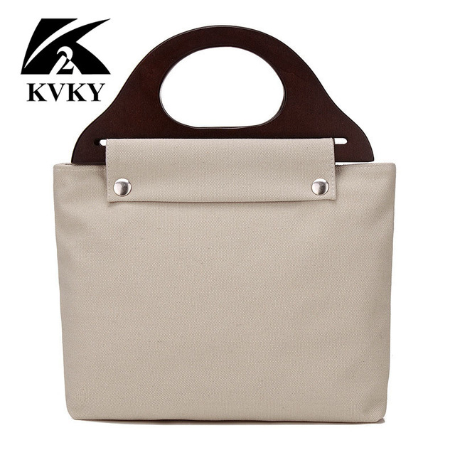 2016 new fashion women canvas bags wooden handle leisure all-match square bag female mummy bag retro famous brand bolsa feminina