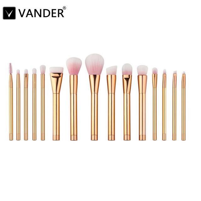 Vander Profesional Oro Rosa 15 Unids Maquiagem Cosméticos Kabuki Pinceles de Maquillaje Polvos Base maquillaje Corrector Herramientas Kit Violeta