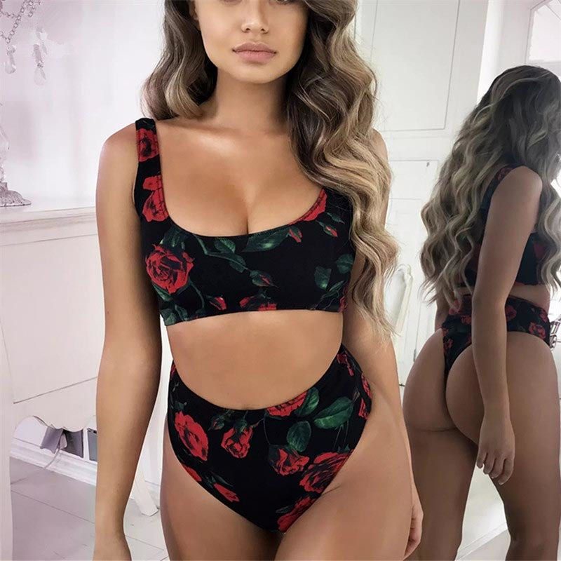 2019 High Neck Bikini High Waist Swimsuit Women Floral Bikini Set Sexy Swimwear Rose Printing Bikini