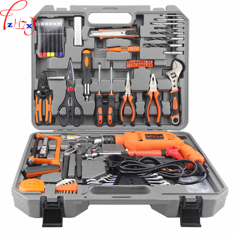 Electric maintenance kit for household working tools 100PCS multifunctional hardware tools box With a drill 220V 1pc urijk 1set best quality multifunctional electric drill impact drill household electric woodworking hardware hand tool sets
