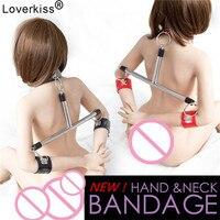 Loverkiss Slave Collar & Handcuffs Steel Bondage Restraints Bdsm Set Spreader Bar,Adult Sex Games Sexy Bdsm Women Sex Toys