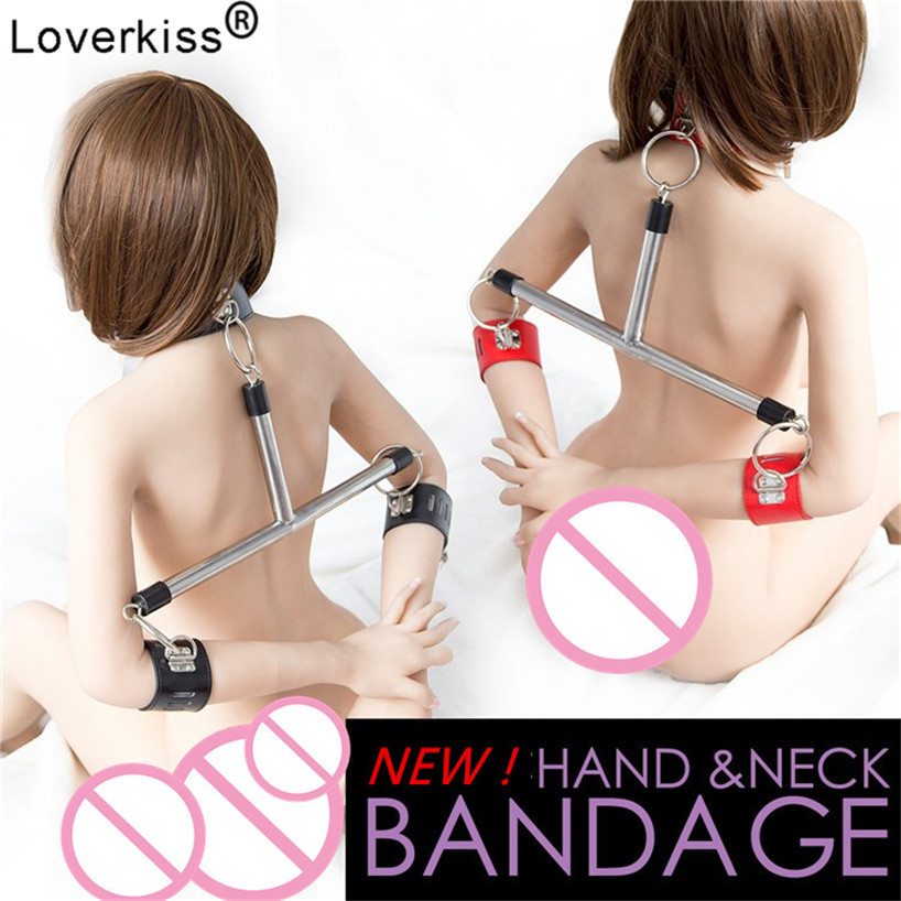 Loverkiss Slave Collar & Handcuffs Steel Bondage Restraints Bdsm Set Spreader Bar,Adult Sex Games Sexy Bdsm Women Sex Toys