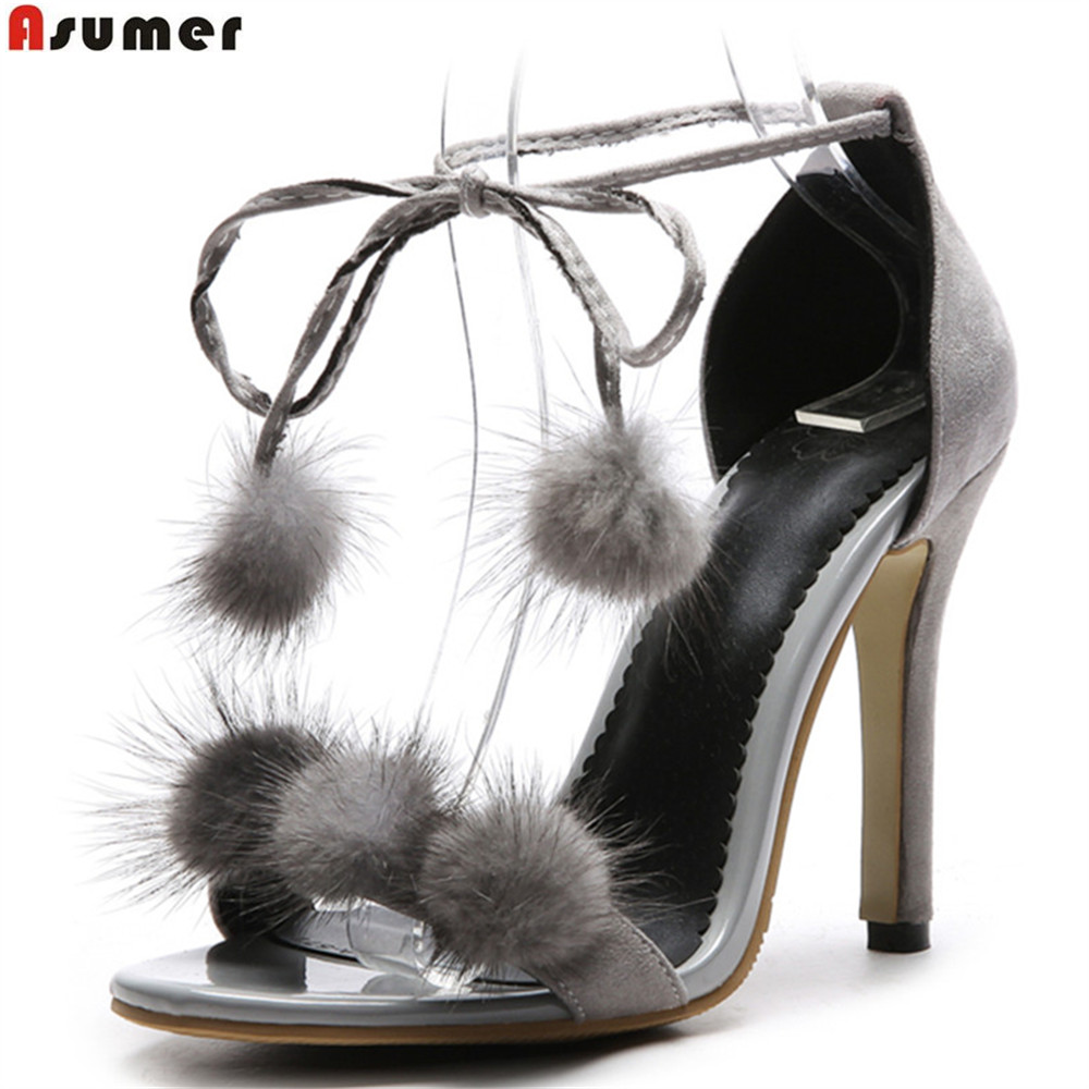 ASUMER black gray Nude color ankle strap sexy ladies summer shoes woman wedding shoes thin heel women sandals plus size 33-46 armoire hot sales black yellow red brown gray flats women slouch ankle boots solid ladies winter nude shoes aa 3 nubuck