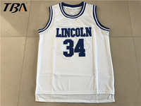 2017 New Allen Jesus Shuttlesworth 34 Lincoln Basketball Jersey He Got Game All Stitched Movie White