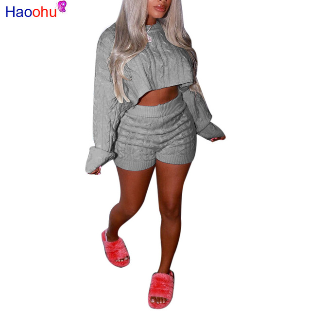 5a12ef15e4462 HAOOHU Women 2 Piece Set Winter Outfits Matching Sets Jumper Sweater Top+Biker  Shorts Casual Tracksuit Two Piece Knitted Suits