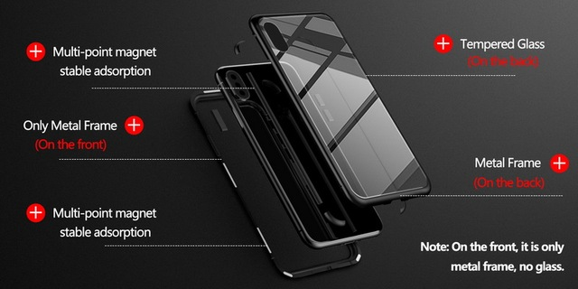Metal Magnetic Case for iPhone + Tempered Glass