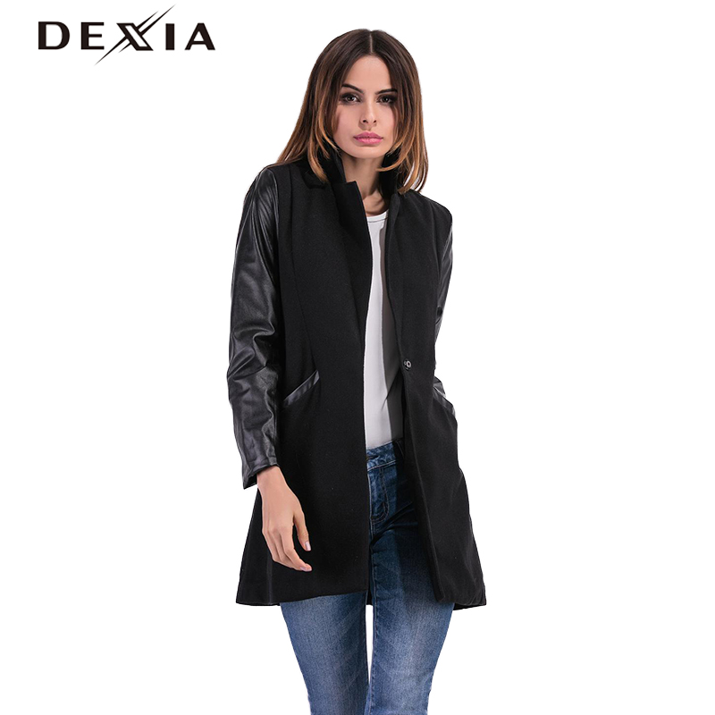 DEXIA PU Leather   Trench   Patchwork Coat Female Long Sleeve Women's Button Pocket Wool Overcoat Big Sizes Casual Clothes 8038#