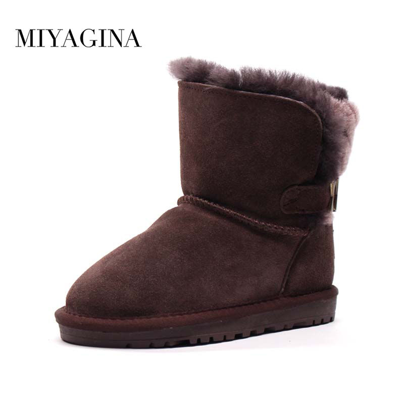 MIYAGINA 2018 New 100% Genuine leather Children Boots natural Real Fur Warm Shoes Baby Girls Boys Snow Boots Winter Kids Shoes цены онлайн