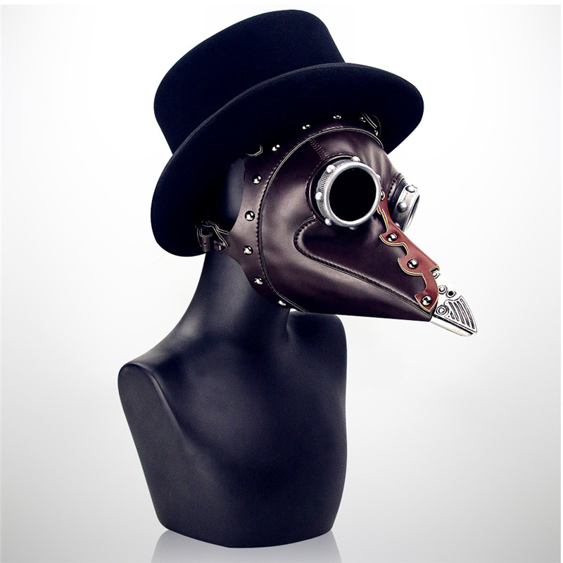 Steampunk Plague Bird Mask Doctor Mask Brown PU Leather Bird Beak Mask Gothic Retro Halloween Cosplay Masquerade Party Masks