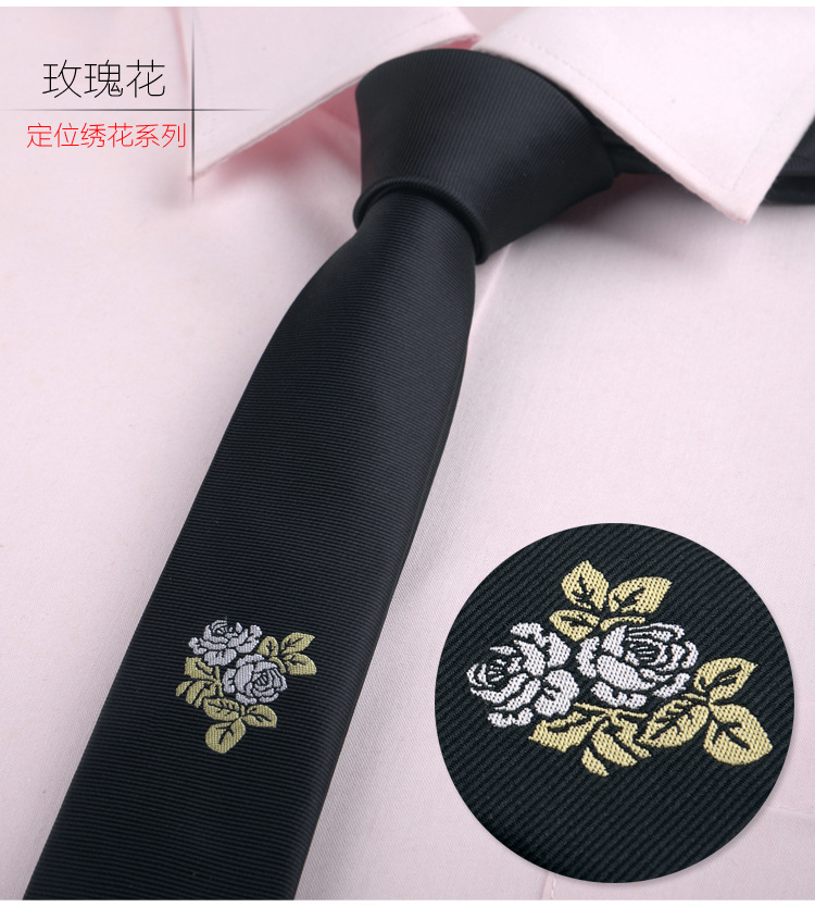 2019 Brand New Men's Embroidered Bee Flower NeckTie Embroidery Korean Version British Narrow 5CM Classic Tie Accessories Navy