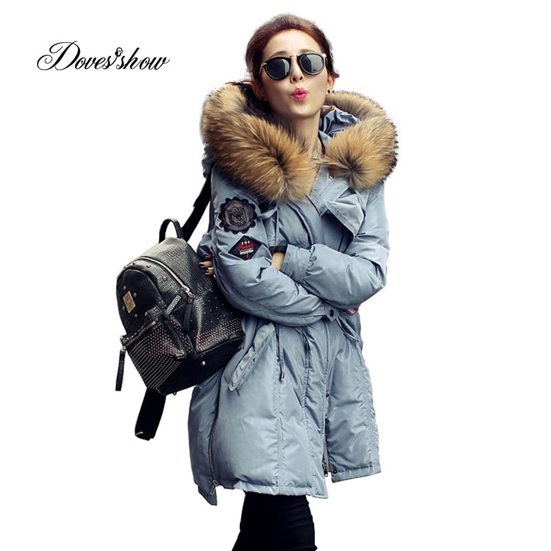 New Hooded Belted Winter Down Coat Long Thick Warm Slim Women Fashion Down Coat Mujer Casaco Feminino Female Jacket Oversized 2017 new winter fashion women down jacket hooded thick super warm medium long female coat long sleeve slim big yards parkas nz18