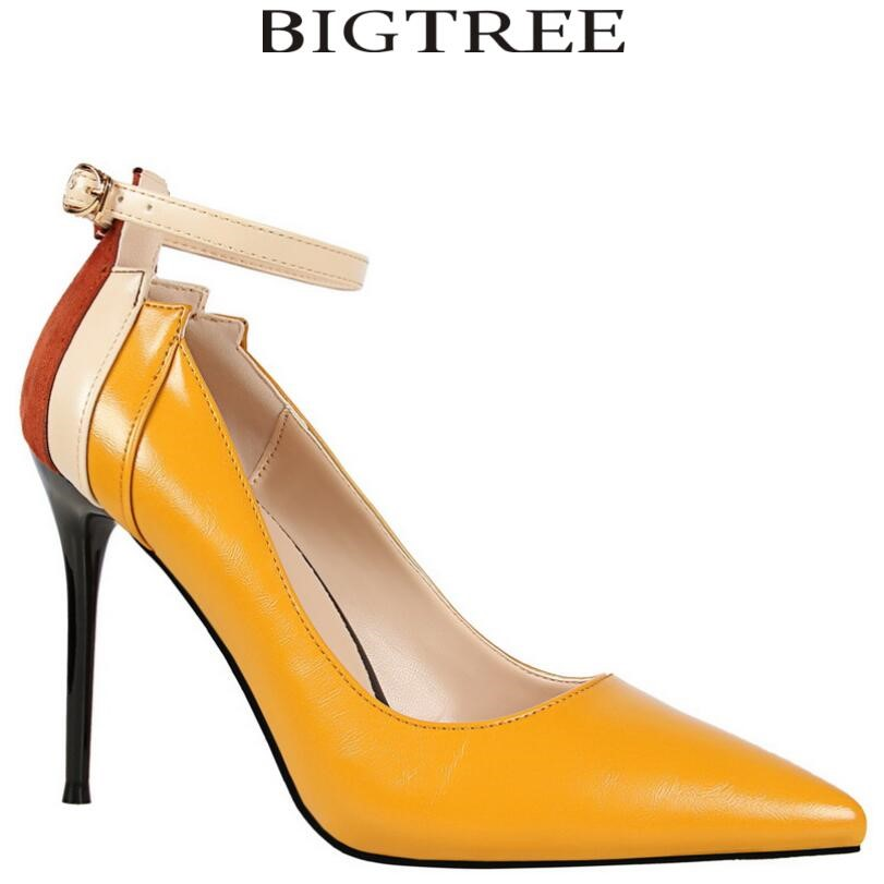 Bigtree 2017 New Multicolor Women Pumps Sexy Ankle Strap Pointed Toe Thin Heel Color Block High Heels Brand Valentin Shoes Woman цены онлайн