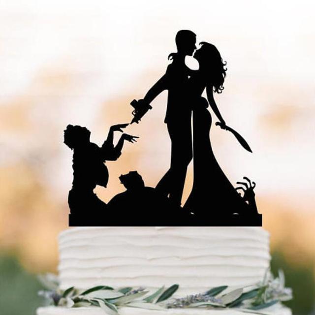 Zombie Wedding Cake topper, Halloween couple silhouette wedding cake ...