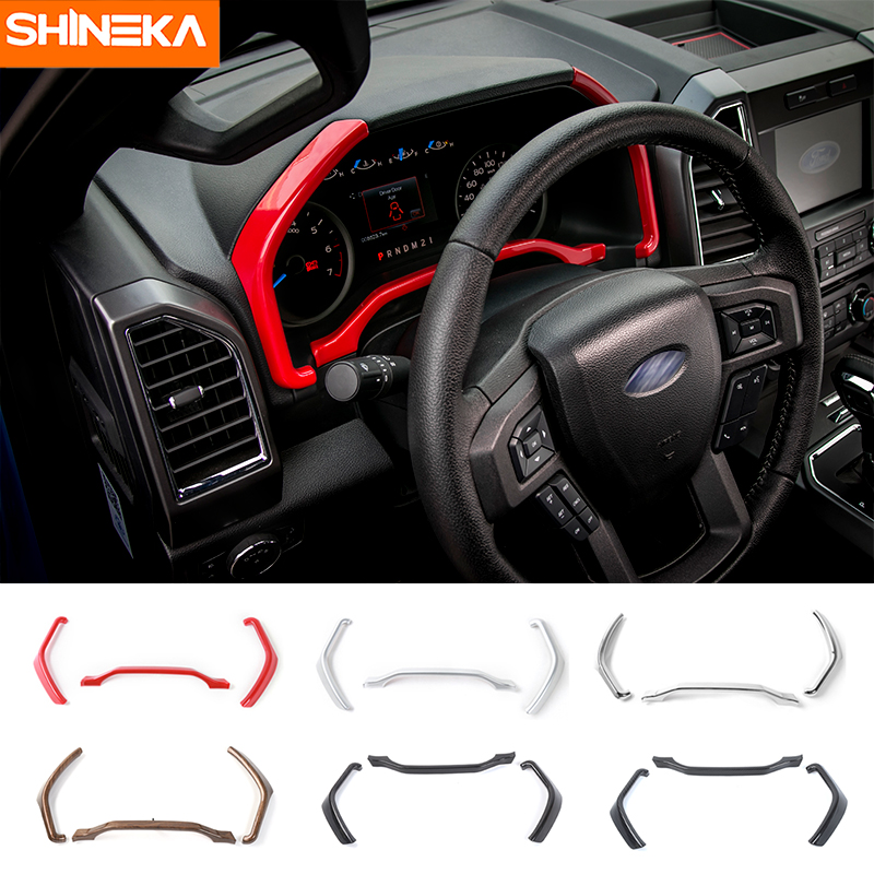 SHINEKA Interior Accessories Dashboard Trim Instrument Board Decorative Cover Strips Frame for Ford F150 2015+ Car Styling