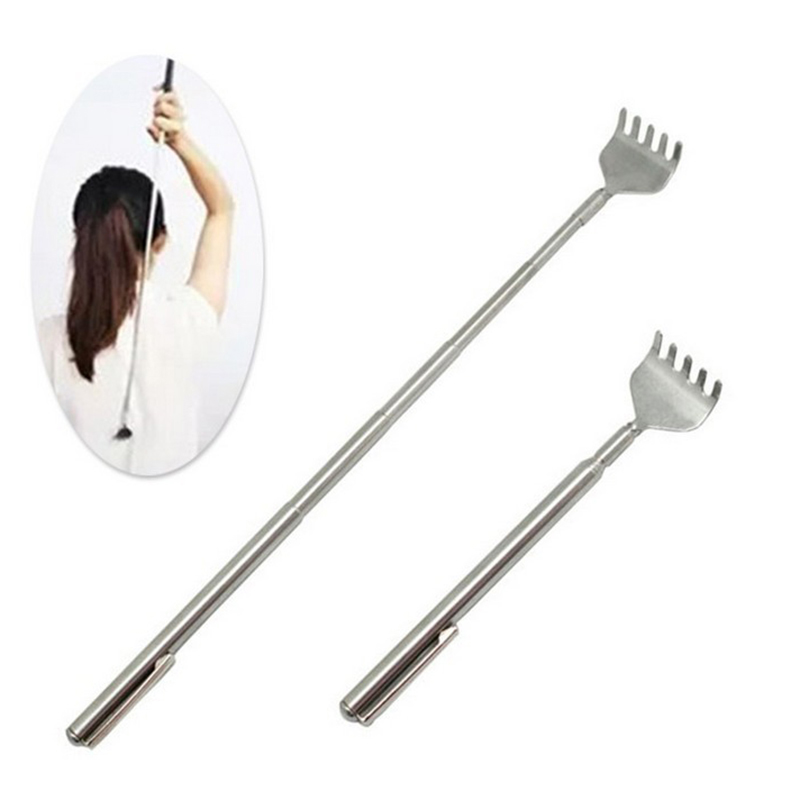 Y&W&F 1pc Practical Handy Telescopic Back Scratcher Stainless Itch Scratch Back Scratcher Pocket Scratching Massage Tool Kit