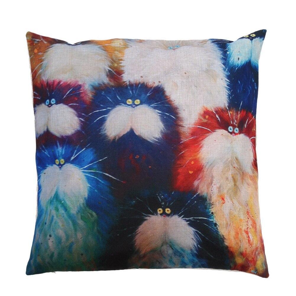 7 stil Farbe Katze Muster Kissen Baumwolle Leinen Kissen Sofa Gedruckt Hause Dekorative Euro Kissen Abdeckung 45X45 CM