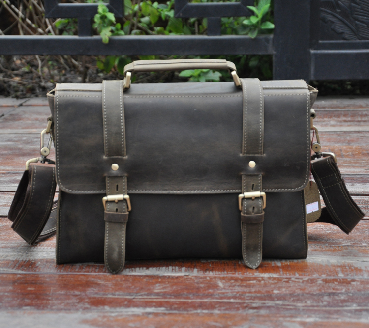 ФОТО 3 first layer of cowhide genuine leather male crazy horse vintage leather handbag cross-body commercial 13 laptop bag