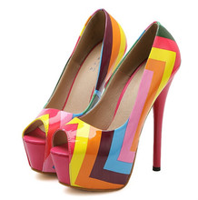 Korean version of the rainbow stripes shoes, fish head high heels fine with waterproof shoes nightclub shoes