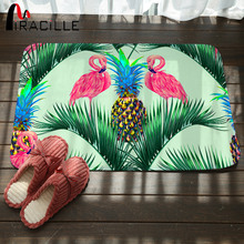Miracille Bathroom Carpet Pink Flamingos Pineapple Printed Area Rugs for Home Non-slip Bath Mat Coral Fleece Entrance Floor Mats 3pcs beach love coral fleece bathroom mat set