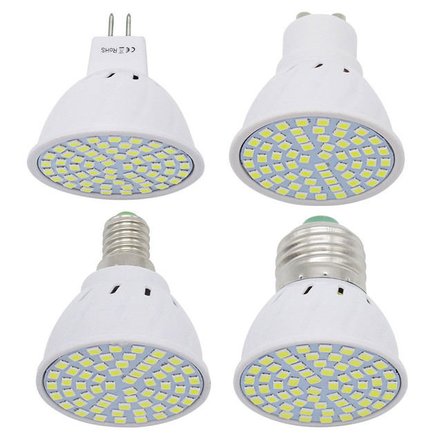 1 قطعة 6W 9W 12W E27 / E14 / GU10 / MR16 220V LED مصباح الضوء 48LED 60LED 80LED 2835 SMD ضوء الثريا استبدال مصباح هالوجين