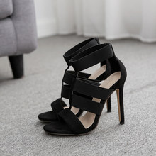 e344fe4df533 In 2019 foreign trade new Roman shoes elastic with hollow out sexy  high-heeled sandals