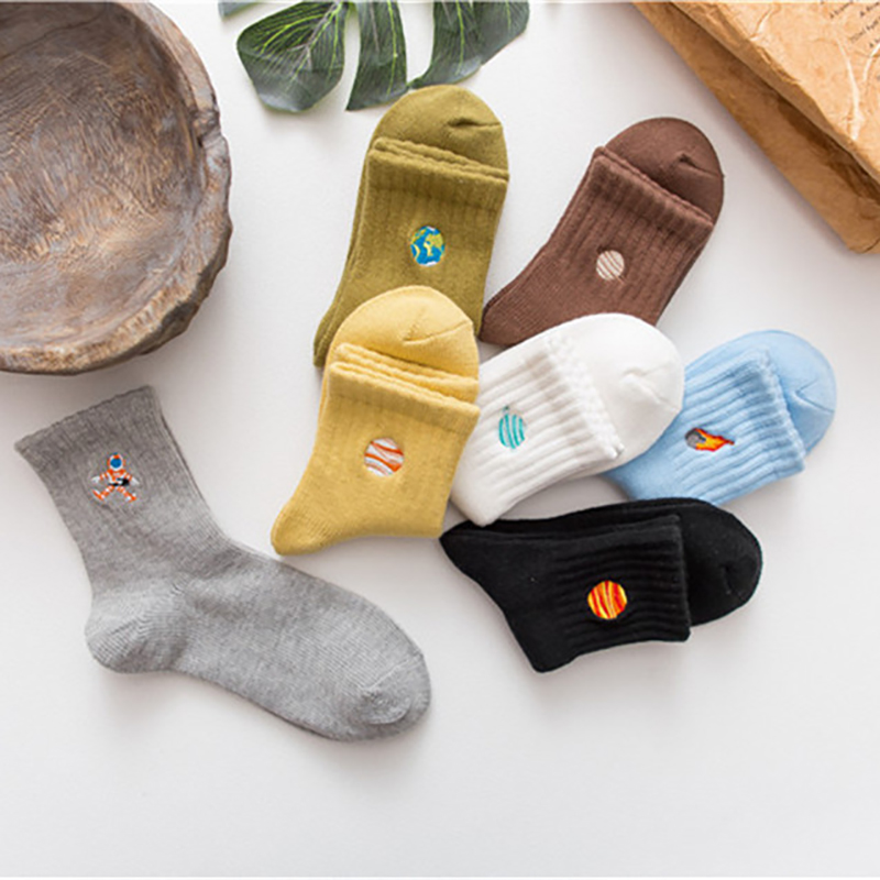Spring Summer Socks For Men Cotton Sock Harajuku Planet Astronaut Embroidery Socks Male Casual Sox Cute Meias New Arrival 2019