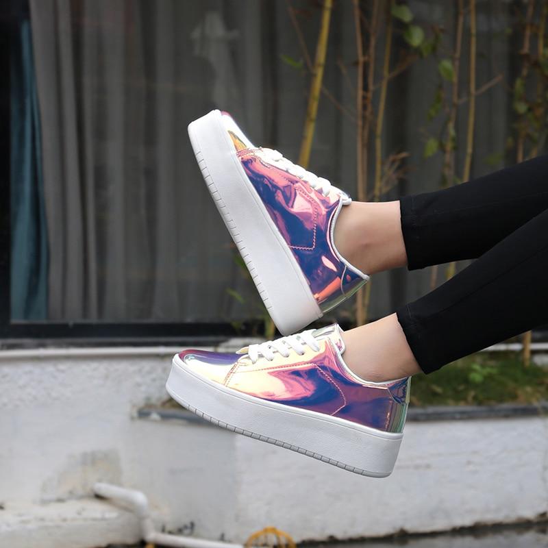 2019 New Women Chunky Sneakers Casual Shoes Spring Autumn Fashion Platform Shoes Glitter Woman Luxury Shoes Women DesignersWomens Vulcanize Shoes   -