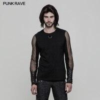 Punk Rave Men's Daily Long Sleeve Men's T shirt Sexy Casual Street Style Men Punk Rock Club Party Tops Shirt