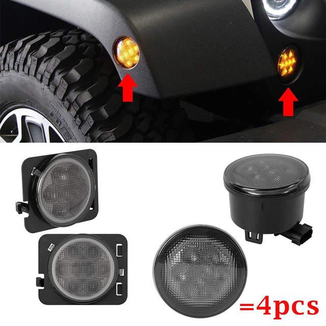 US $181 0 |105W 7 Inch Round LED Headlight White/ amber Turn Signal DRL 4