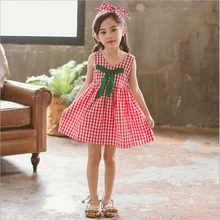 Baby Girls Dress Summer Cotton Cute Bow Sleeveless Princess Red Plaid A-Line Girl for Clothing 2-8y