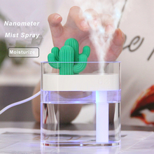 160ML Ultrasonic Air Humidifier Clear Cactus Color Light USB Essential Oil Diffuser Car Purifier Aroma Diffusor Anion Mist Maker