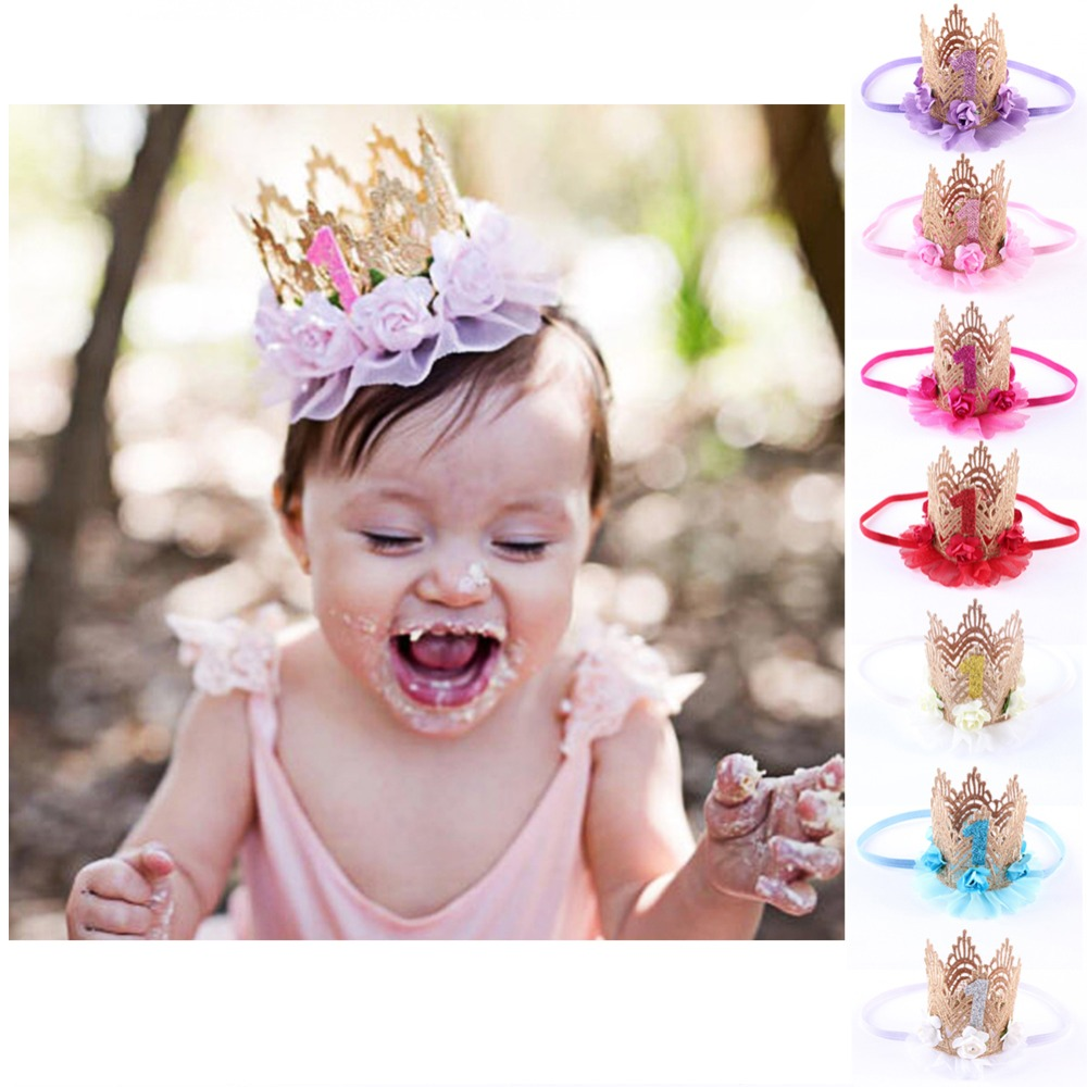 Infant Baby Headband Crown Baby Girls Princess Queen Flower Hairband Headband Hair Band Kids Birthday Party Accessories awaytr korean hairband for women girls cute headband cat ears hair hoops with sequins hair accessories party birthday headwear