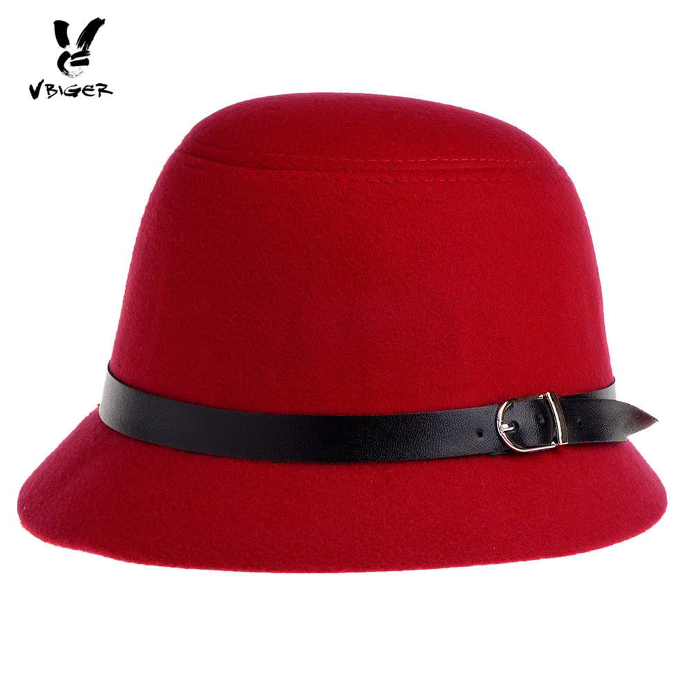 VBIGER Women Fedoras Hat Bucket Hat Fashionable Wool Felt Bowler Hat Cap Billycock with Decorated Belt for Spring Autumn