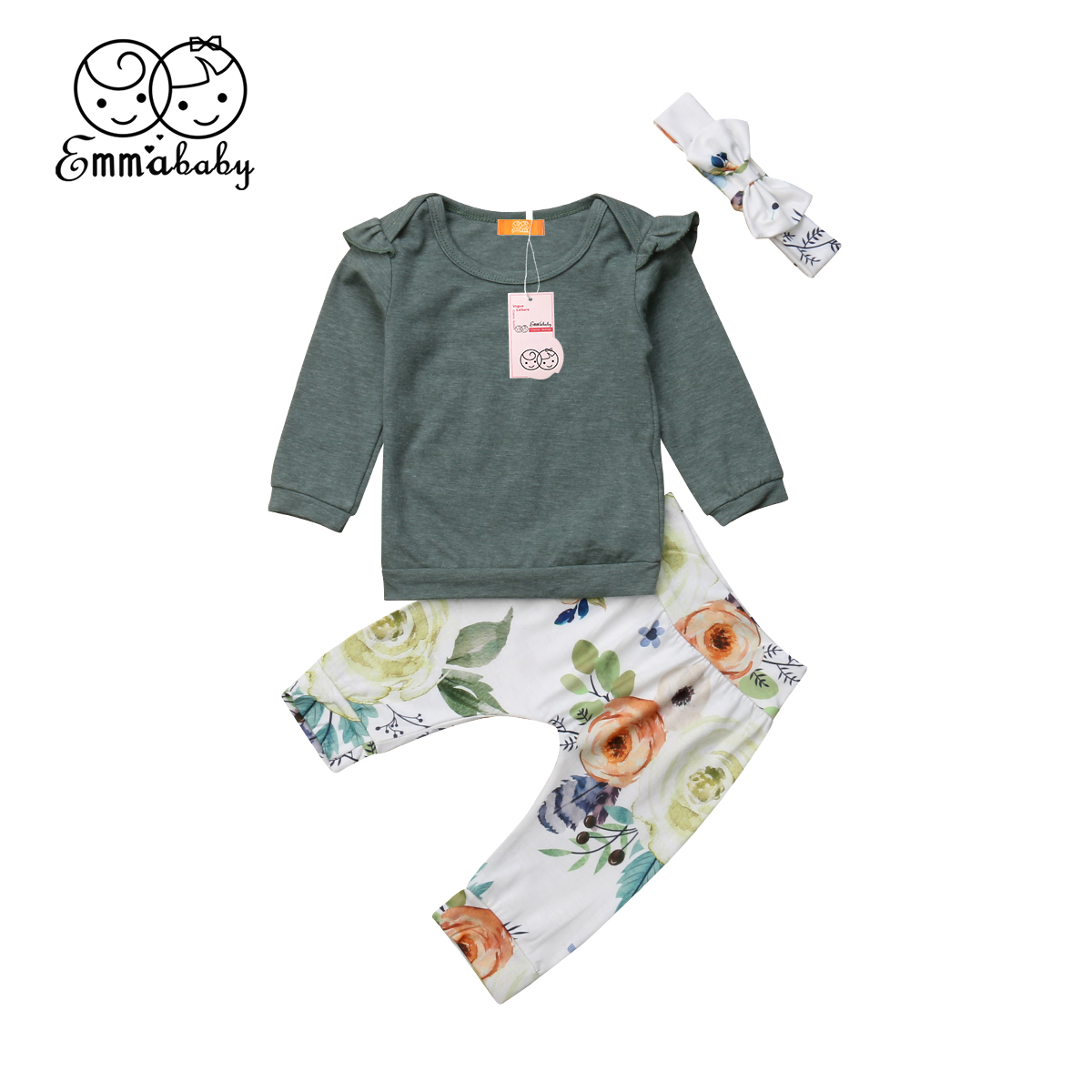 Canis Newborn Baby Girls Tops Romper Floral Pants Headband Outfits Set Clothes