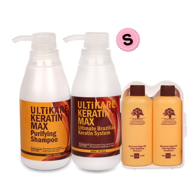 Cheapest 300ml Brazilian 8% Keratin Treatment +300ml Purifying Shampoo Straighten and Care Strong Cruly Hair+Free Small Gifts free shipping 300ml free formaldehyde brazilian keratin treatment 300ml purifying shampoo before treatment for damage hair