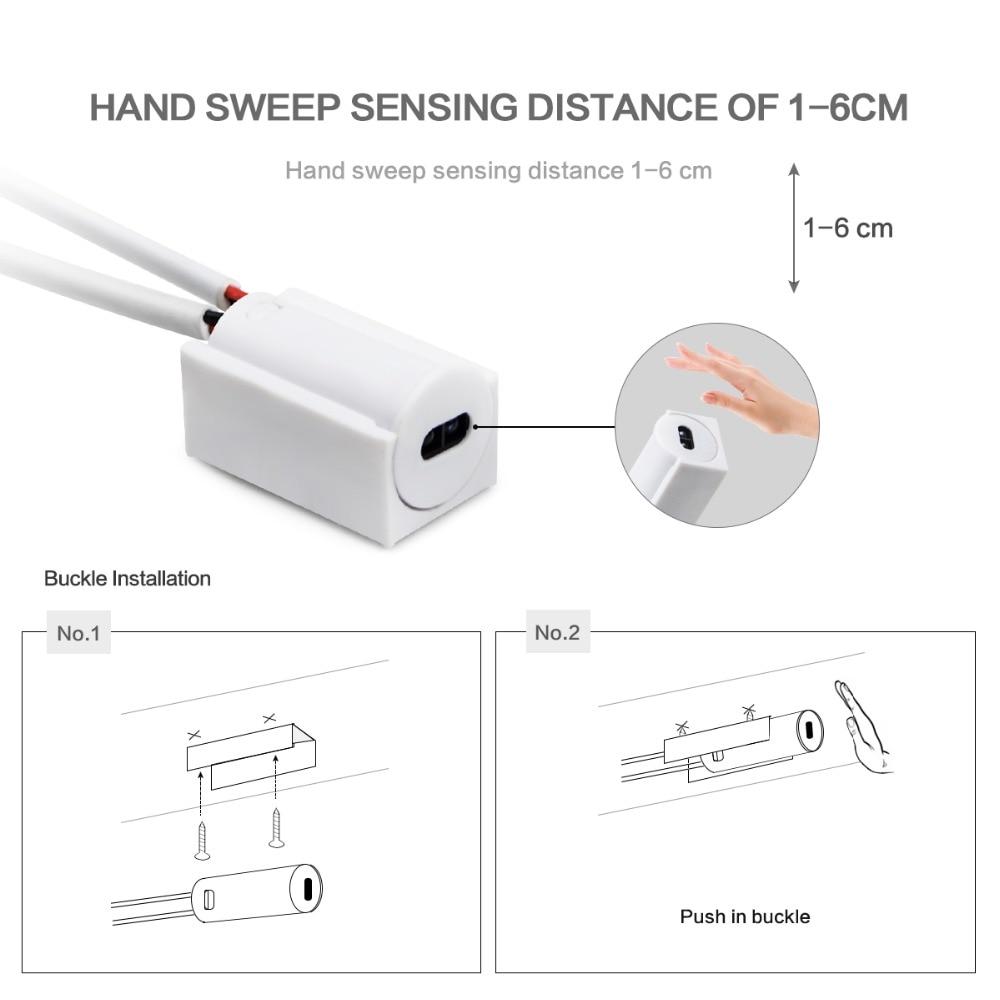 Image 2 - Hand Sweep Sensor LED Strips 110V 220V to 12V Waterproof 1M 2M 3M 4M 5M Motion Sensor Night lights Wardrobe Closet Kitchen lamp-in LED Strips from Lights & Lighting